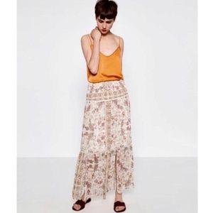 Zara Mini Floral Print Maxi Skirt Lace Slit Sz S